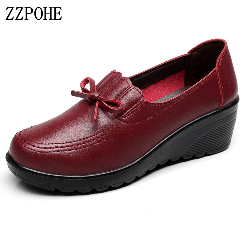 ZZPOHE Spring Autumn Women Pumps Woman Fashion Leather Slip On High Heels Platform Shoes Ladies Casual Comfortable Single Shoes coolcept female bowtie restore ancient ways slip on platform mid heels women s fashion style casual spring autumn lolita shoes