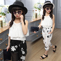 Girl Summer Stylish Suits with Chiffon Camisole and Casual Floral Pants Black White Children Clothing