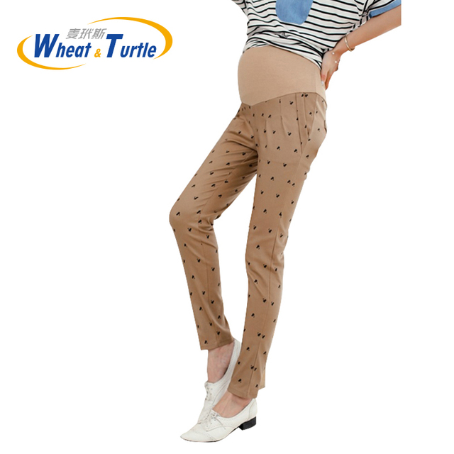 2016 Hot Sale Animal Pattern Cotton Maternity  Skinny Pants All Match And All Season Suitable  Pencil Pants For Pregnant Women