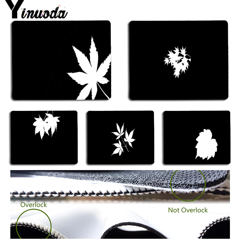Yinuoda Cool New Beautiful black and white leaf Computer Gaming Mousemats Size for 180x220x2mm and 250x290x2mm Rubber Mousemats