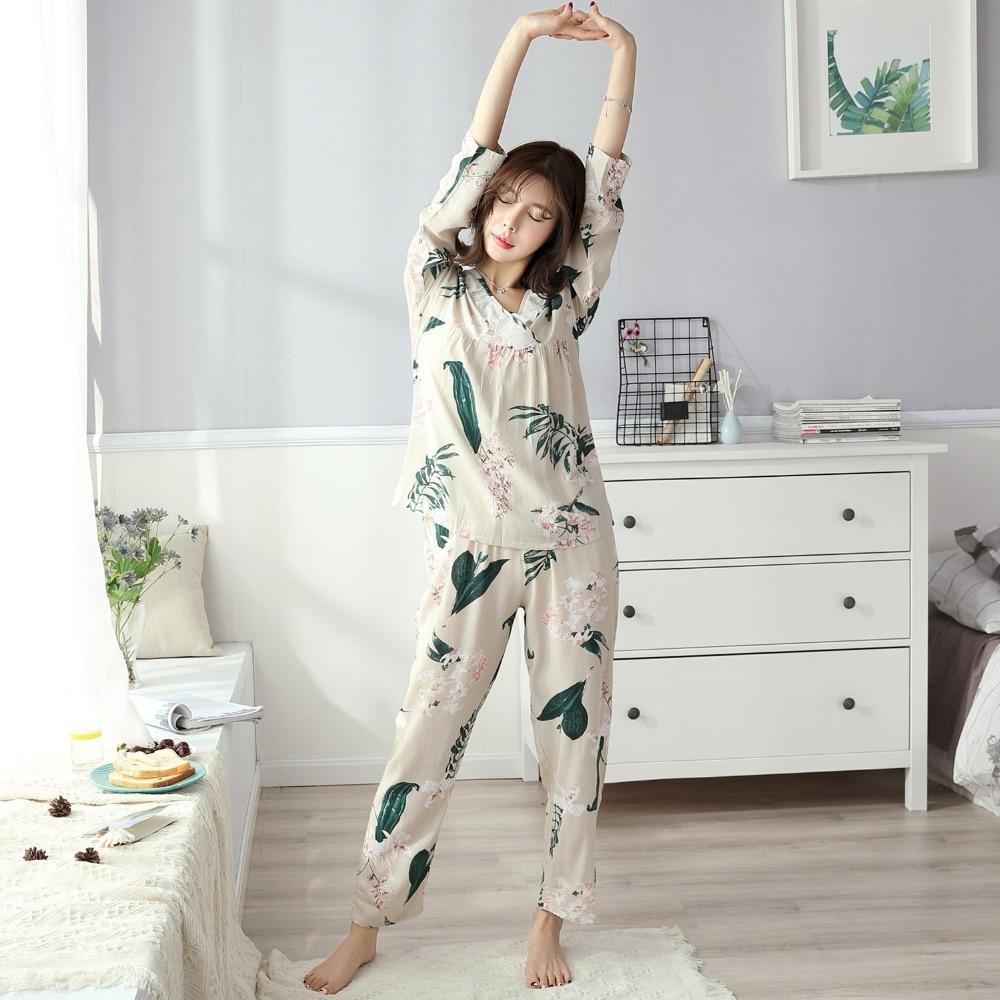 Women Pajamas Satin Sleepwear Pijama Home Wear Silk Pyjama H