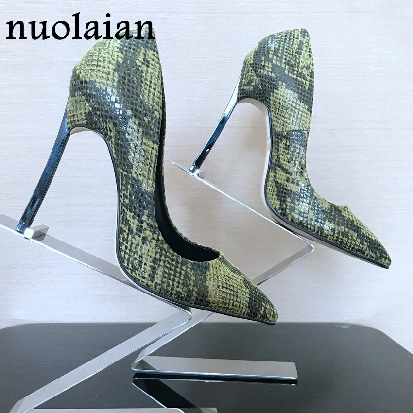 12CM Sexy Pump Shoes Woman Wedding High Heels Summer Womens Pumps Big Size Lady High Heel Shoes Women Snake Printed Leather new 2018 autumn shoes women pumps sexy graffiti high heels shoes fashion snake printed wedding party shoes big size 34 44