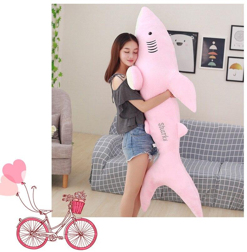 Énorme 150 cm belle bande dessinée rose requin en peluche jouet doux coton poupée calin oreiller jouet, cadeau d'anniversaire b2854