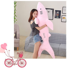 huge 150cm lovely cartoon pink shark plush toy soft cotton doll hugging pillow toy ,birthday gift b2854(China)