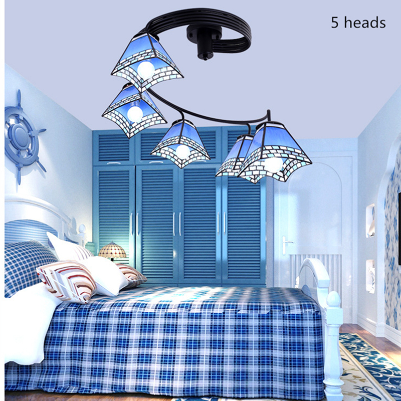 Mediterranean blue ceiling lamp Nordic creative led Tiffany lampshade chandelier modern minimalist bar living room bedroom light|Pendant Lights| |  - title=