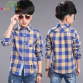 New Plaid Shirts for Boys Gentlemen Boys Plaid Blouse Shirts Kids Collared Shirts School Children Spring Outerwear Tops L275