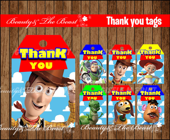Toy Story Tags Toy Story Thank You Tags Toy Story Gift Favors Birthday Party Decorations Kids Party Supplies Baby Shower