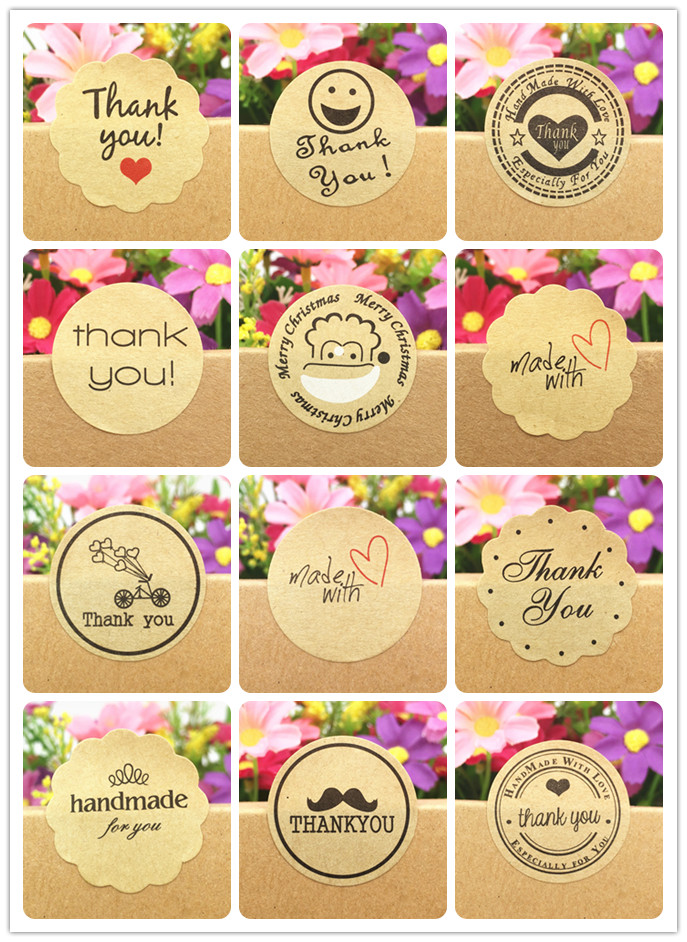 500pcs/lot  Kraft Paper Sticker Labels Diameter 3cm DIY Gifts Packing Labels For Hand Made Gift/Cake/Candy/Jewelry/PriceTags