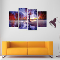 FOUR PC NO FRAME Riverside Mangrove Oil Painting Printed Oil Painting On Canvas Home Decor Wall
