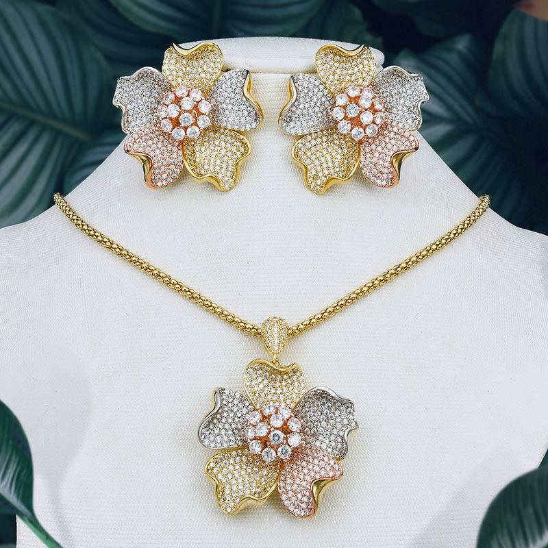 ModemAngel Flower Floral Fashion Luxury Super AAA Cubic Zirconia Women Engagement Earring Necklace Jewelry Set