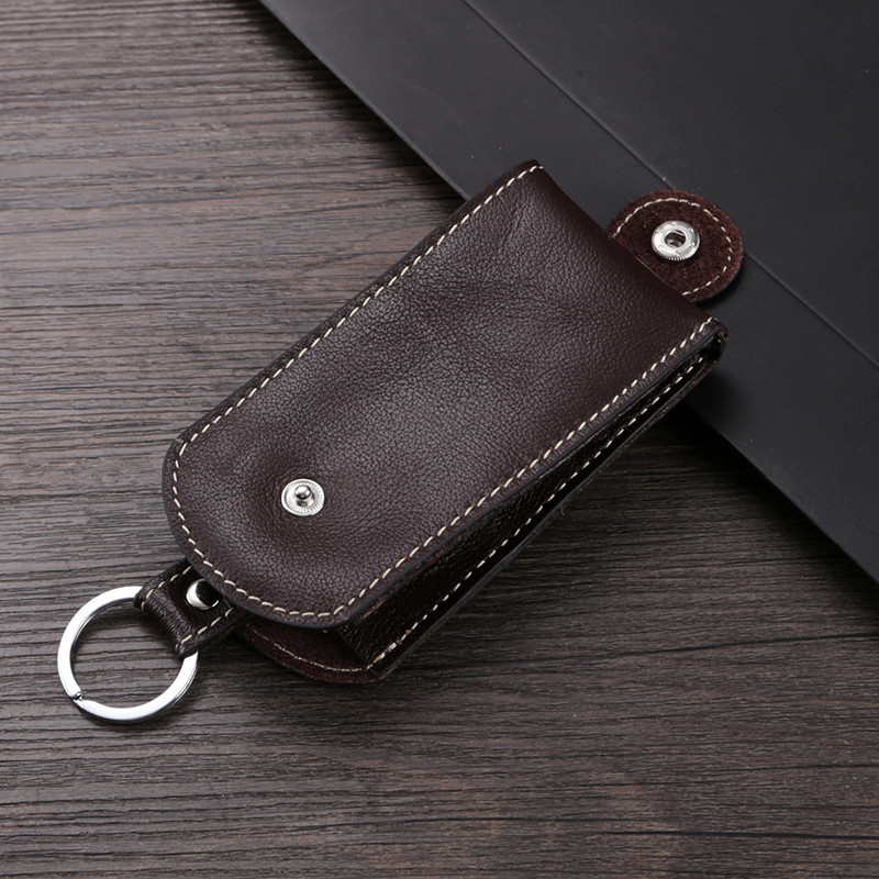 BYCOBECY Genuine Leather Smart Key Holder Car Key Wallet Organizer Car Key Housekeeper Bag Covers Hasp Key Case