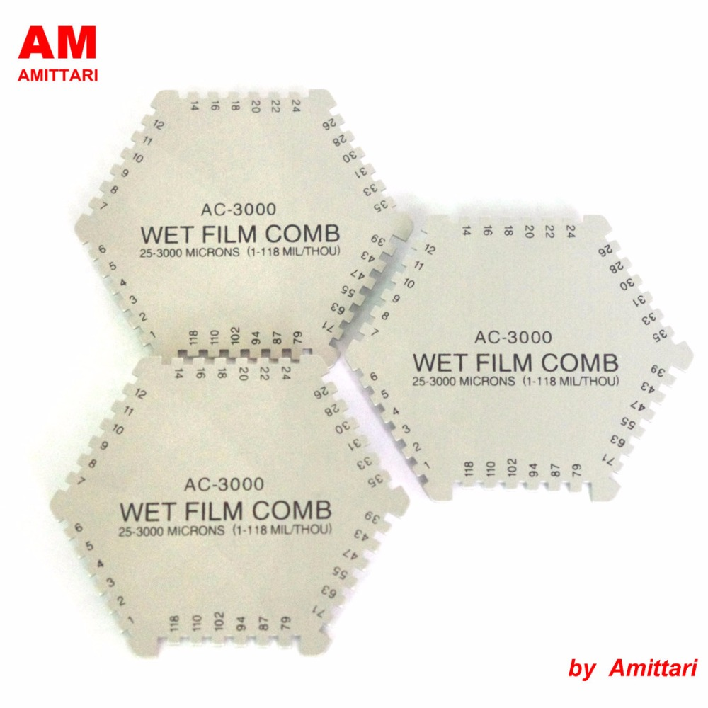 Genuine Brand AMITTARI Hexagonal Wet Film Thickness Comb thickness gauge meter tester 2 sides 1-118 mils 25-3000um paint coating cm 8000 hexagon wet film comb for coating thickness tester meter 5mil 118mil