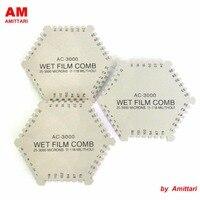 Marcas Autenticas AMITTARI Hexagonal Espessura de Filme Molhado Pente medidor de espessura medidor tester 2 lados 1-118 mils 25-3000um pintura revestimento