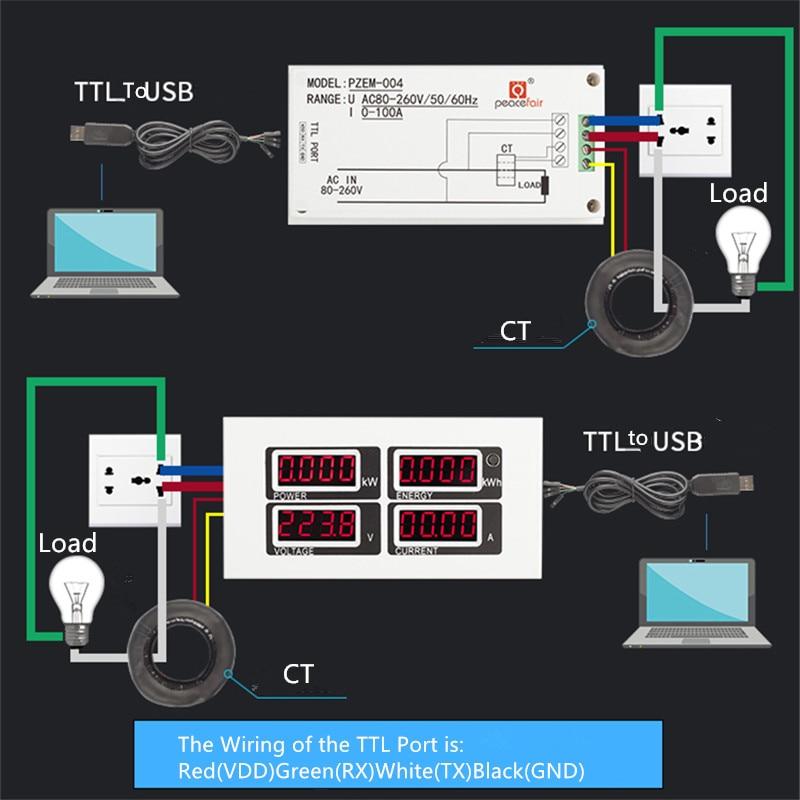 """""""PEACEFAIR PZEM-004"""" kintamos srovės šviesos diodo voltmetro - Matavimo prietaisai - Nuotrauka 6"""