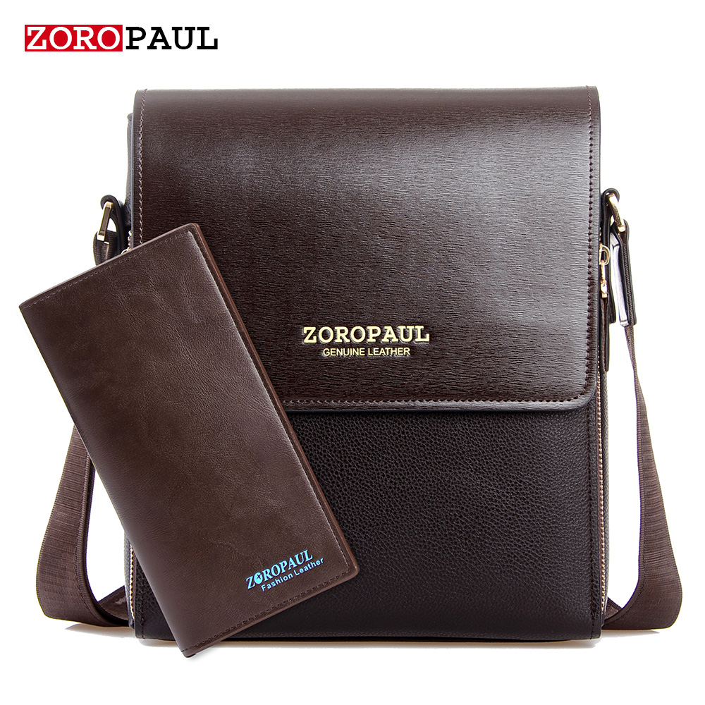 ZOROPAUL 2017 Fashion Business Leather Men's Messenger Bags Designer Handbags High Quality Crossbody Vintage Shoulder Man Bag