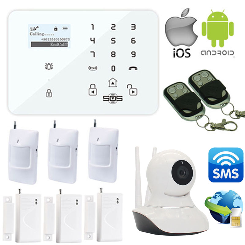 где купить Wireless Android/IOS APP Support GSM Alarm System +3G/GSM Camera SMS Wifi IP Camera Home Safety Burglar Alarm W12I по лучшей цене