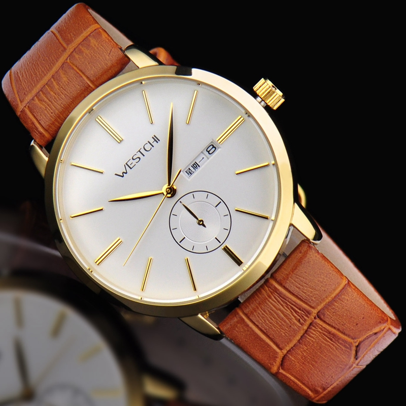 2016 Top brand men wristwatch waterproof sports watches men genuine leather strap luxury casual sport quartz