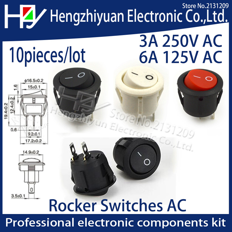 hzy 10Pcs/lot 15MM 16mm Diameter Small Round Boat Rocker Switches Black Mini  White Red 2 Pin ON-OFF Switch 3A 250V