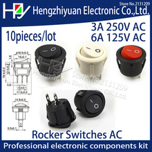 hzy 10Pcs/lot 15MM 16mm Diameter Small Round Boat Rocker Switches Black Mini Round  White Red 2 Pin ON-OFF Rocker Switch 3A 250V spst snap in mini boat rocker switch ac 250v 3a 125v 6a 2 pin on off 10 15mm