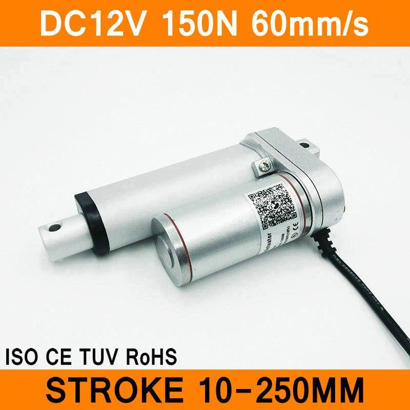 Actionneur linéaire 12 v dc moteur 150n 60 mm/s course 10-250mm linéaire motion contrôleur ip54 en aluminium alliage étanche ce rohs iso