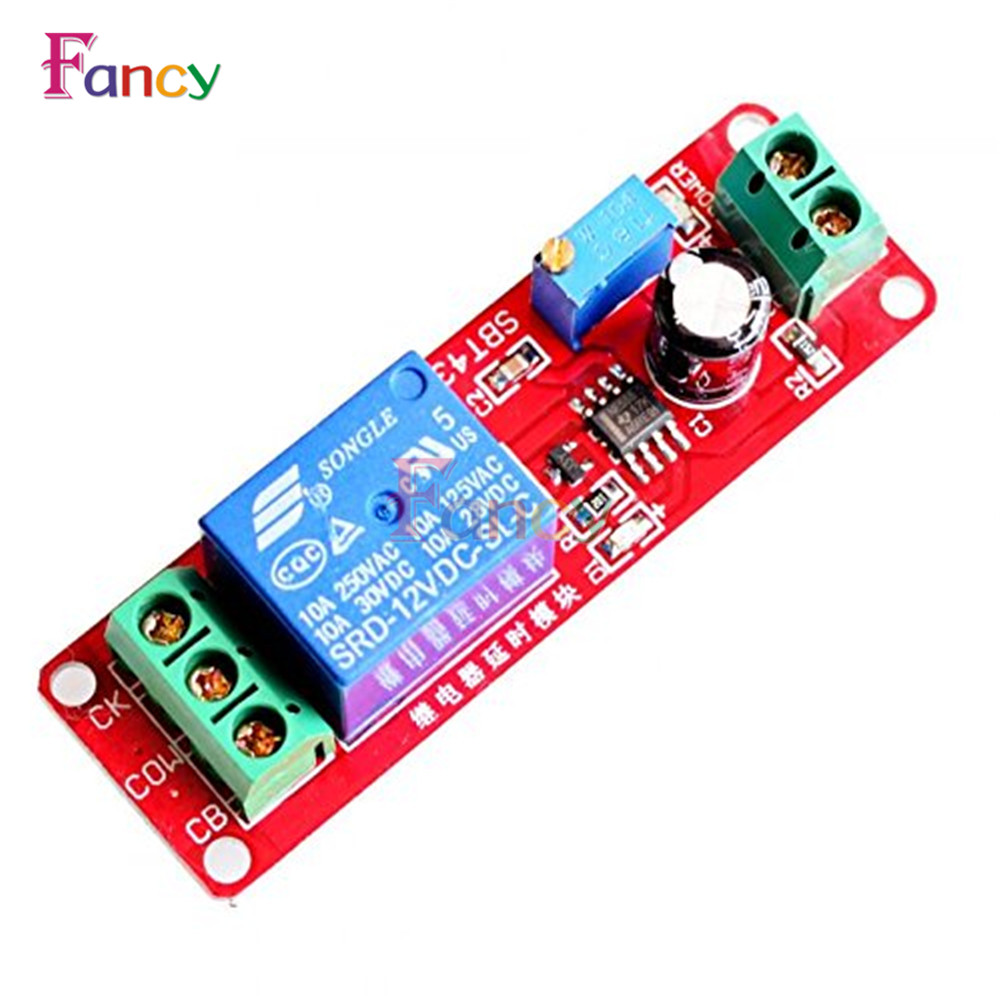NE555 Timer Switch Adjustable Module Time delay relay Module DC 12V Delay relay shield 0~10S 1pc multifunction self lock relay dc 5v plc cycle timer module delay time relay