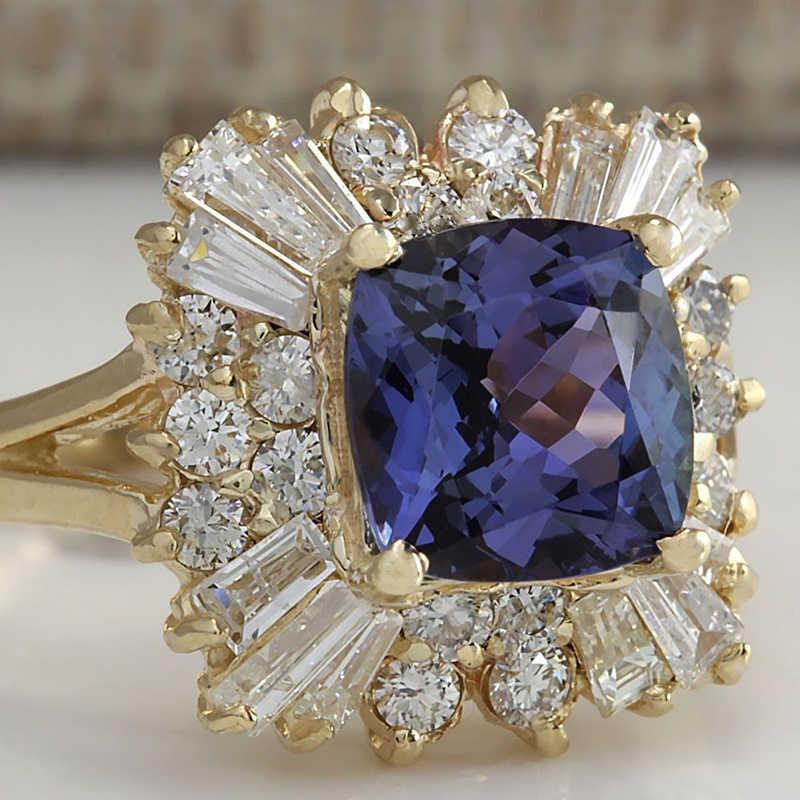 Vintage สีขาวคริสตัลแต่งงานแหวนดอกไม้ทองสุภาพสตรีอุปกรณ์เสริมแหวนผู้หญิงเครื่องประดับ Bague Femme Anillos Mujer C5K104