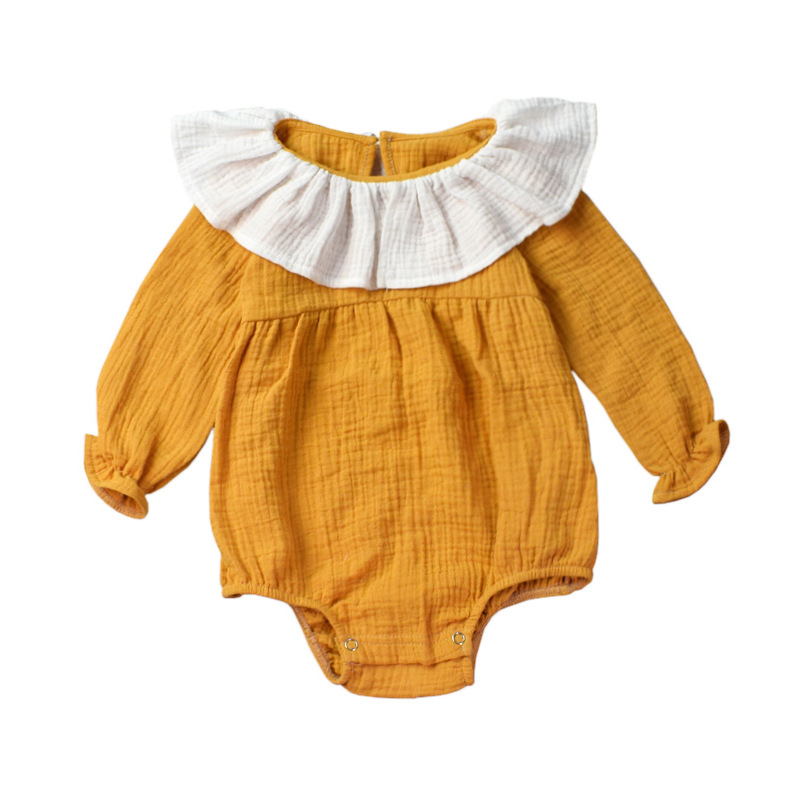 fccf2155fb5a Autumn Baby Romper Mustard Yellow Cotton Linen Infant Rompers Long Sleeve  Newborn Clothes Fashion Baby Girls Clothing-in Bodysuits from Mother   Kids  on ...