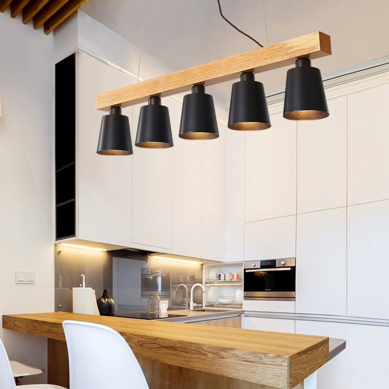 Modern Pendant Lights Wood LED Kitchen Lights LED Lamp Dining Room Hanging Lamp Ceiling Lamps Lighting Fixtures For Long Table