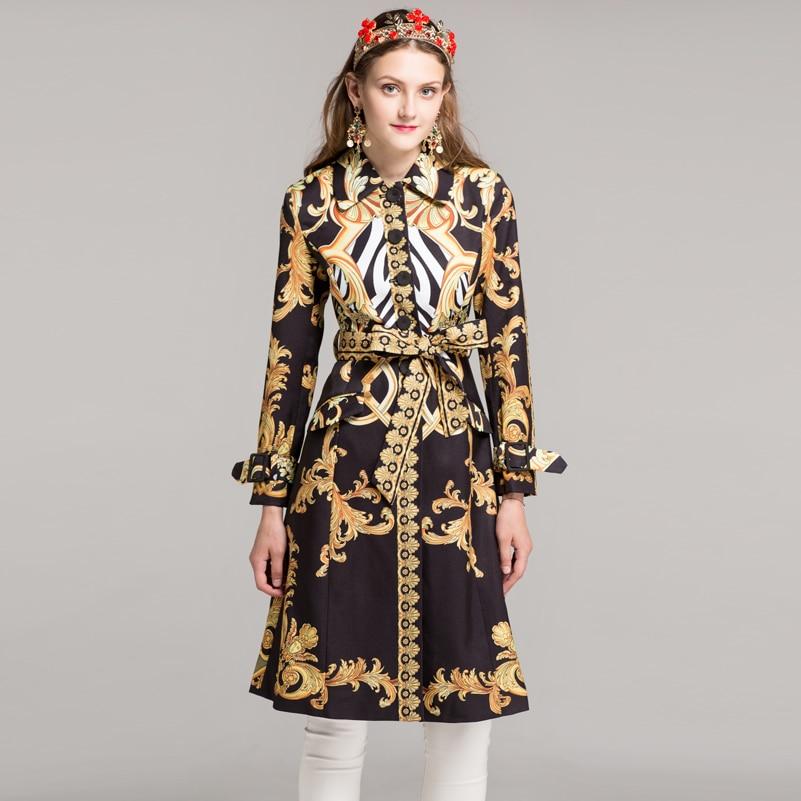 Women's long sleeve fashion long coats high quality autumn/winter 2018 designer Sashes Printing Vintage Slim   Trench   XXL