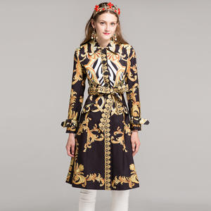1a9650dba46 Women s long sleeve fashion long coats high quality autumn winter 2018  designer Sashes Printing Vintage Slim Trench XXL
