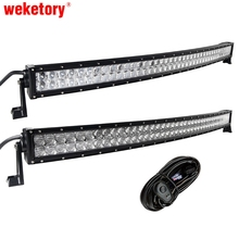 weketory 4D 5D 42 inch 400W Curved LED Work Light Bar for Tractor Boat OffRoad 4WD 4×4 Truck SUV ATV Combo with Switch Wiring