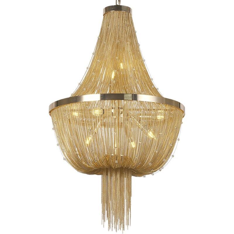 D55cm Moderní lustrová lampa Hliník ATLANTIS Stream Crystal Designové lustry Osvětlení Obývací pokoj Hotel Light