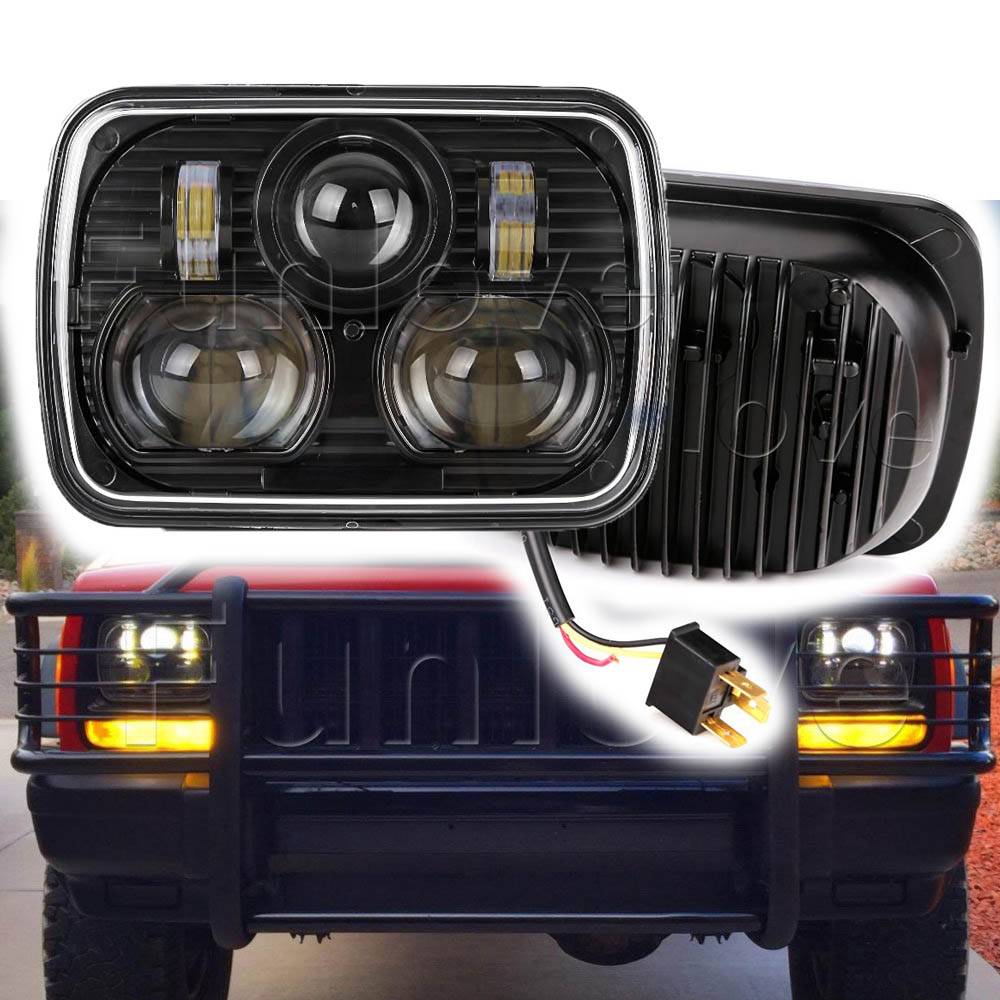 WHDZ 2pcs Black 5 X 7 LED Headlight with HI/LO Beam Replacement Kit for Jeep Cherokee XJ Trucks Offroad Square Headlight