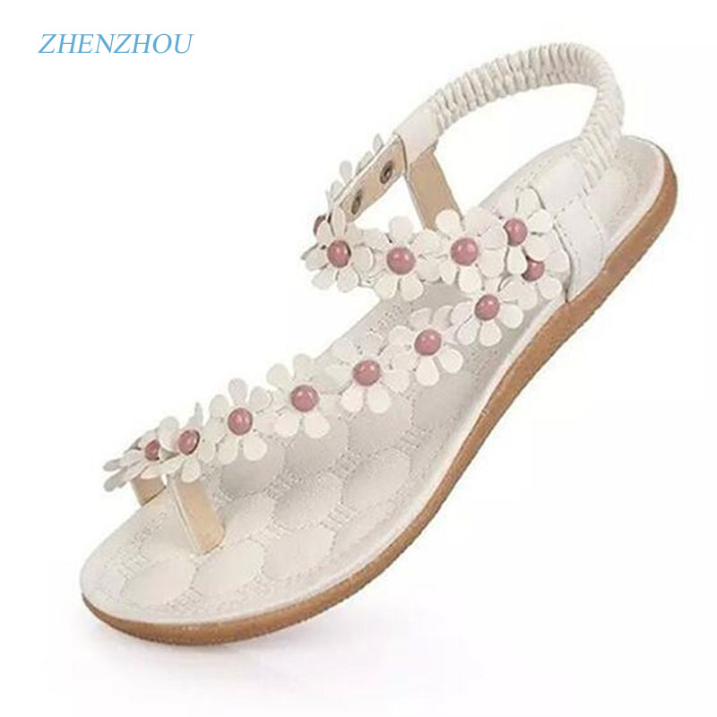 2017 Women's shoes woman sandals Bohemia summer sandal shoes pinch the new clip toe flowers flat han edition with beach shoes white sexy lace details no falsies bodycon bralet