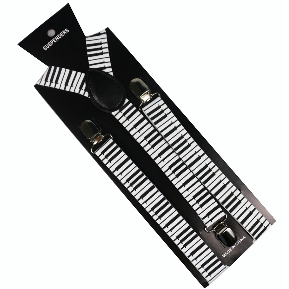 Unisex Piano Key Suspenders Y-Shape Suspenders For Men Womens For Wedding Match Shirt Braces