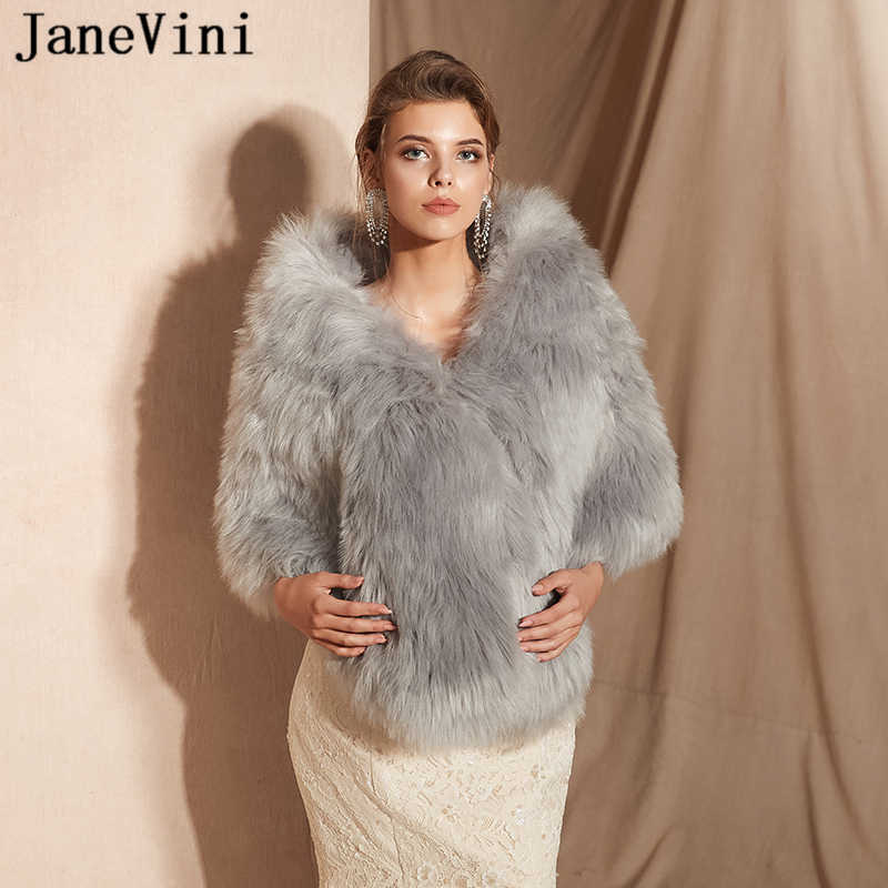 JaneVini Fashion Gray Shrug Bridal Faux Fur Shawls and Wraps Women Bolero Winter Warm Cloak Jackets for Prom Party Casaco Noiva