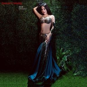 Image 1 - Women Belly Professional Dancing Costumes Ladies 2018 NEW Dance Dresses Belly Dance Luxury Bra + Long Skirt 2Pcs / Set Suit