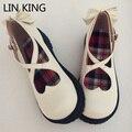 Lin rey mujeres dulce lindo bowtie sólido pu simple zapatos de punta redonda gruesa cruz correa con hebilla de zapatos de suela suave