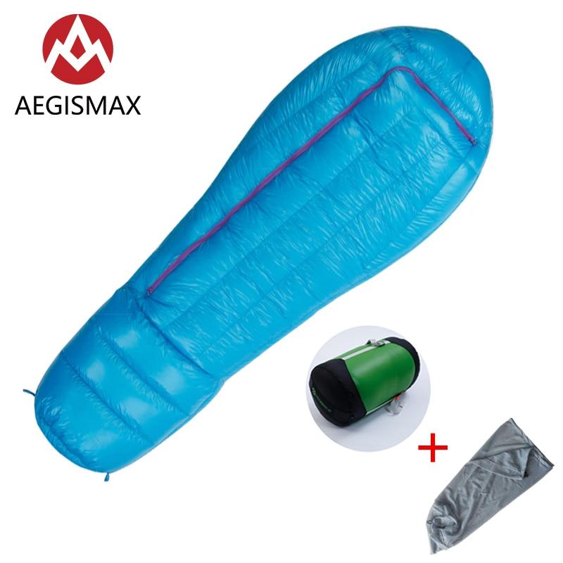 AEGISMAX ULTRA 200x78cm Outdoor Camping Winter Mummy White Down Sleeping Bag Cold Weather Nylon Sleeping Bag