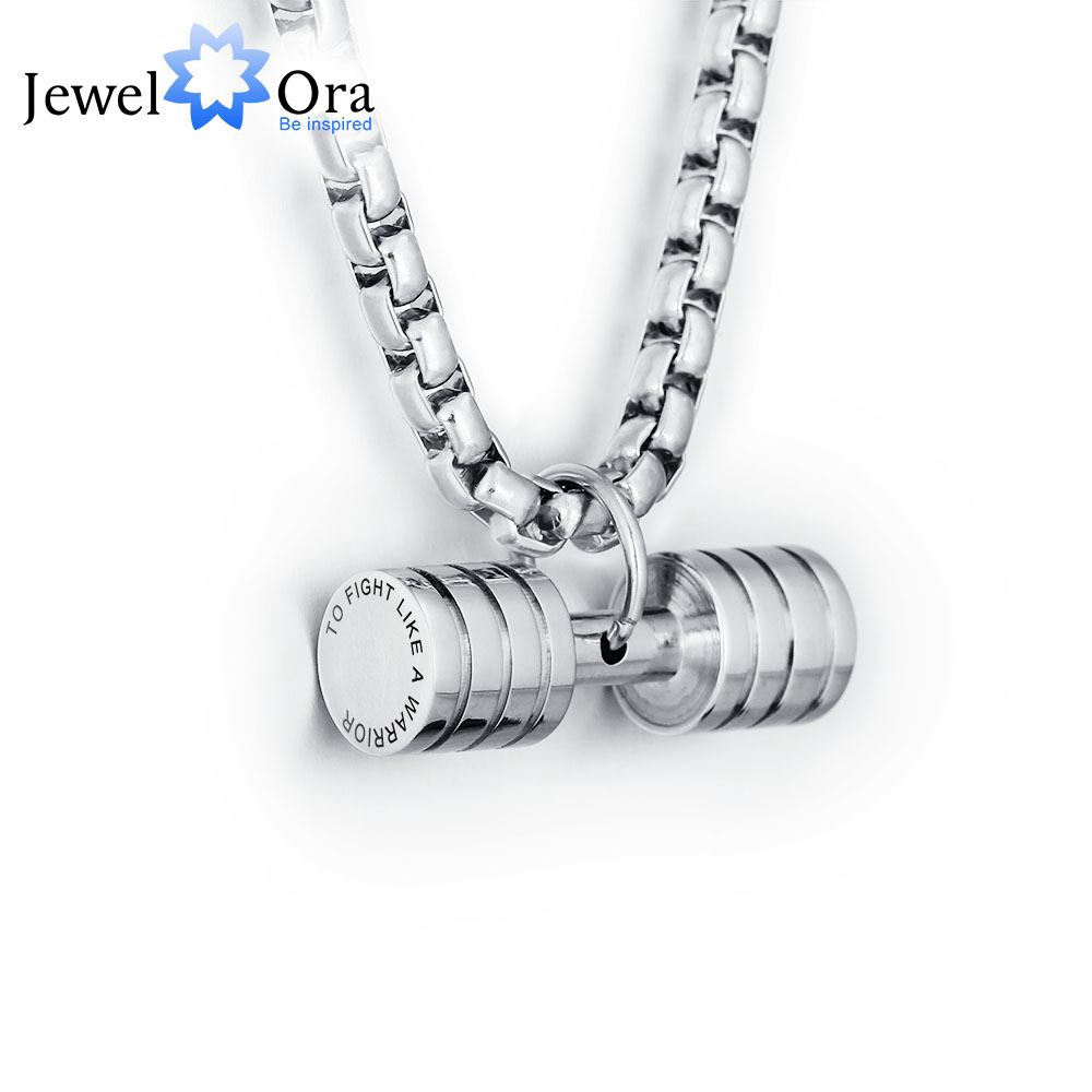 Personalized Engrave Stripe Dumbbell Fitness Pendant Necklace Stainless Steel Men Sports Necklaces & Pendants(JewelOra NE101311)
