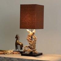 Экзотические Юго Восточной Азии оригинальные деревянные светодио дный E27 Настольная лампа для вход в отель Гостиная Ресторан прикроватная