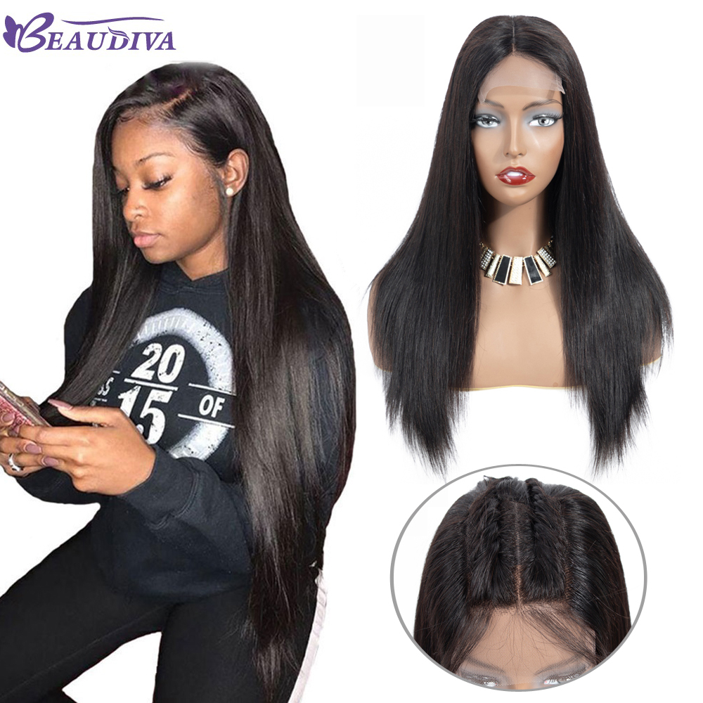 Lace Front Human Hair Wigs With Baby Hair Malaysian Straight Human Hair Wigs For Black Women
