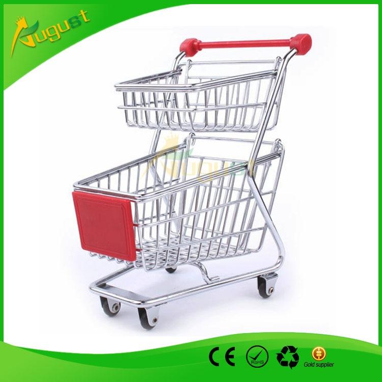 10pcs/lot Double Layers Creative Storage Mini Shopping Cart Desktop supermarket trolleys originality hand-painted storage box