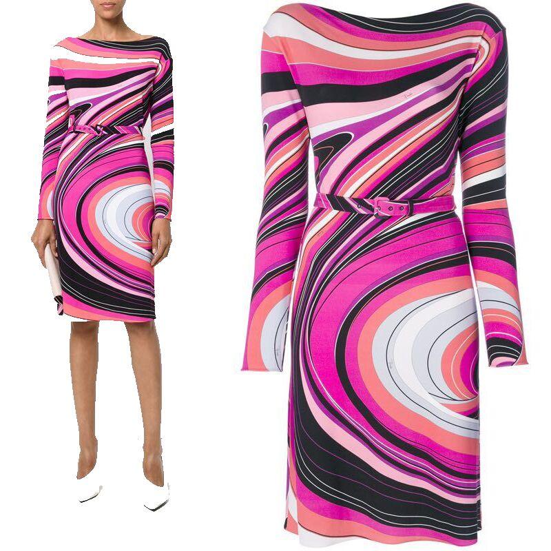 Mode tempérament femmes Europe états-unis rayures géométriques contraste stretch mince tricot robe Z-1-369