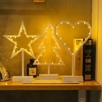 Creative Led NightlightPlastic Love Heart Star Christmas Tree lamp Luminous decorative Desk Table lamp Bedroom lights