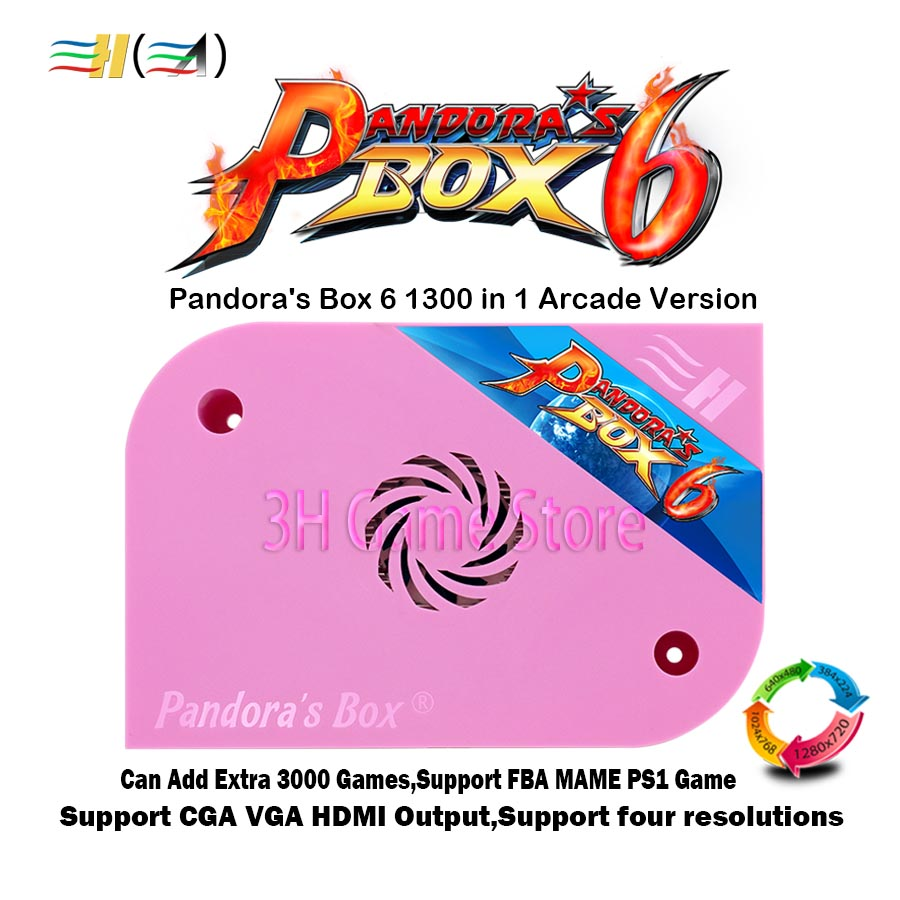 Original Pandora Box 6 1300 in 1 jamma board Arcade Version HDMI VGA CGA For coin operated game machine Can add extra 3000 games 1300 in 1 pandora box 6 jamma board hdmi vga cga for arcade machine can add extra 3000 games support fba mame ps1 game 3d game