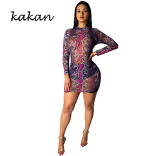 Kakan summer new womens snake pattern mesh print dress fashion sexy club party red green blue
