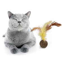 Natural Cat Catnip Soft Feather Treat Balls Toys Menthol Flavor Kitten Ball Cats Playing Cleaning Teeth Toy Pet Supply