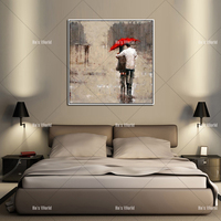 100% Handmade Modern lover in the street Oil Painting Rain man Lovers in the Rain picture on Canvas as Christmas Gift Home Deco