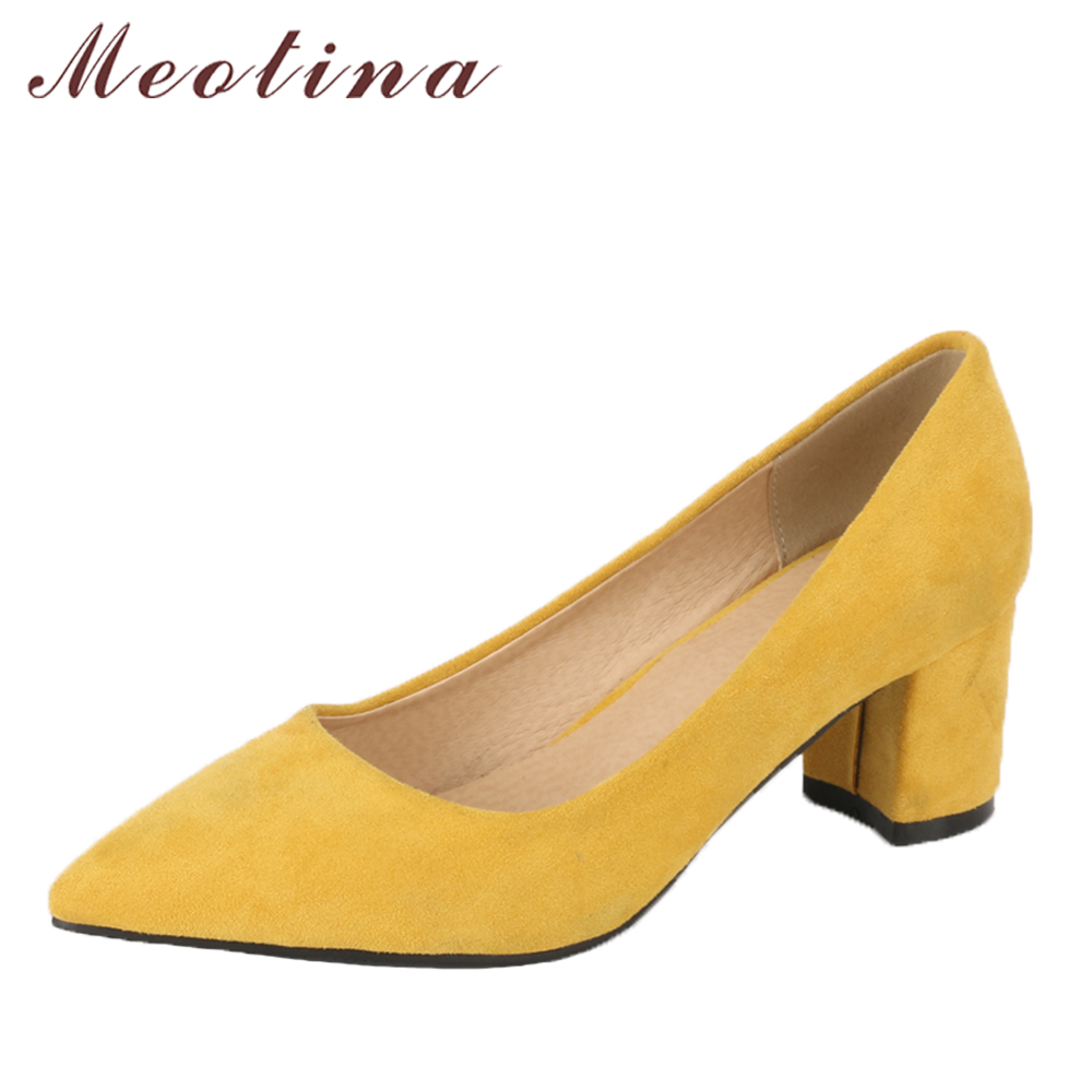 Meotina Women Pumps High Heels Office Lay Shoes Sharp Toe Thick Heels Female Career Shoes 2018 Spring Shoes New Large Size 34-43 2017 new spring female flat heels martin shoes bullock shoes female thick bottom loafers large size women shoes obuv ayakkab